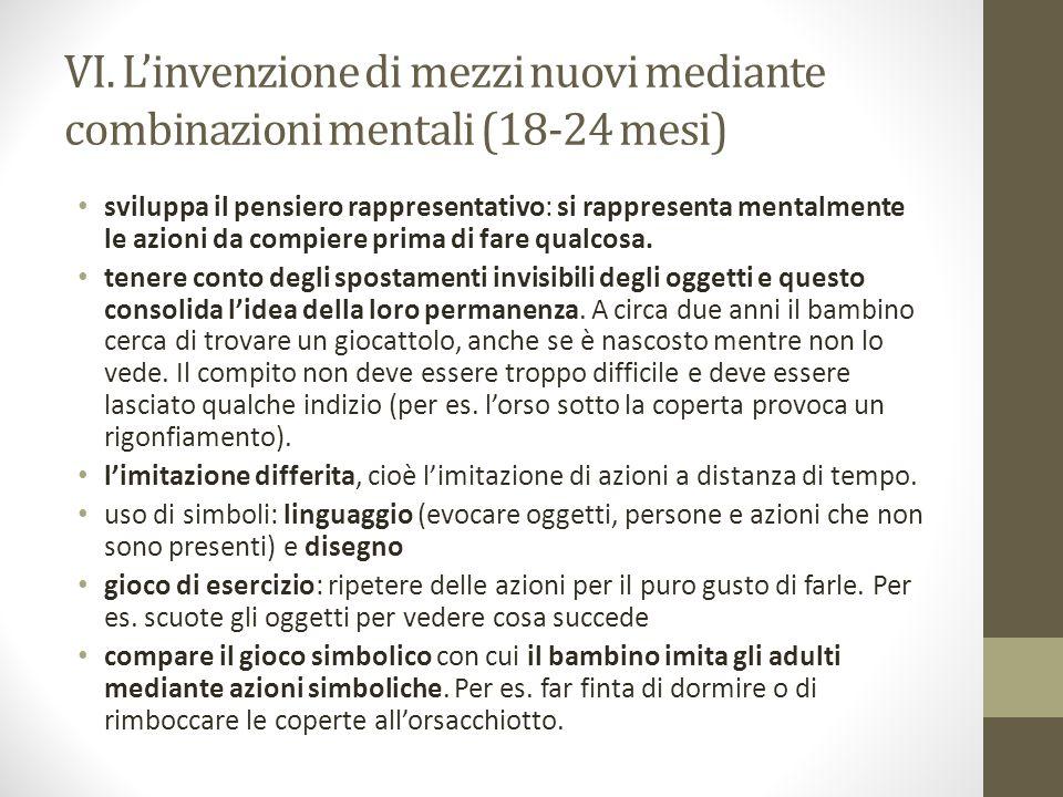 VI. L'invenzione di mezzi nuovi mediante combinazioni mentali (18-24 mesi)