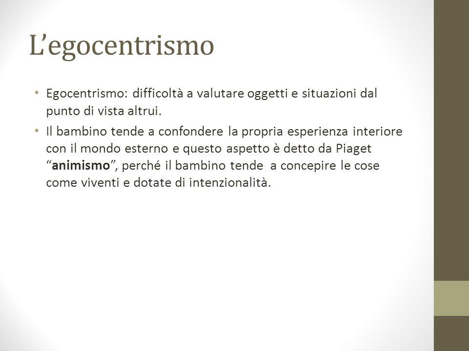 L'egocentrismo Egocentrismo: difficoltà a valutare oggetti e situazioni dal punto di vista altrui.