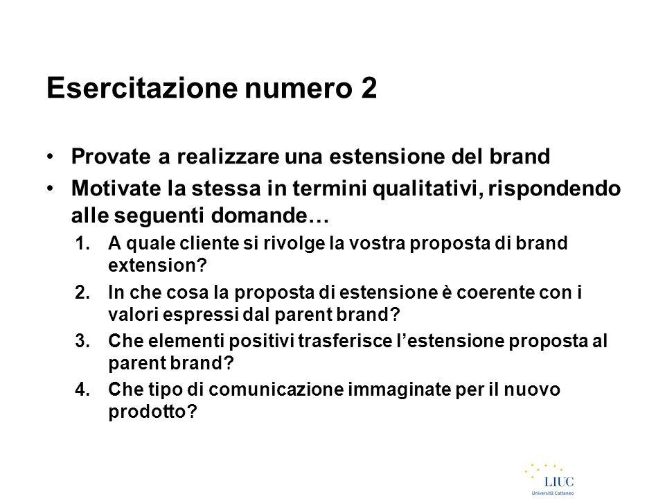 Esercitazione numero 2 Provate a realizzare una estensione del brand