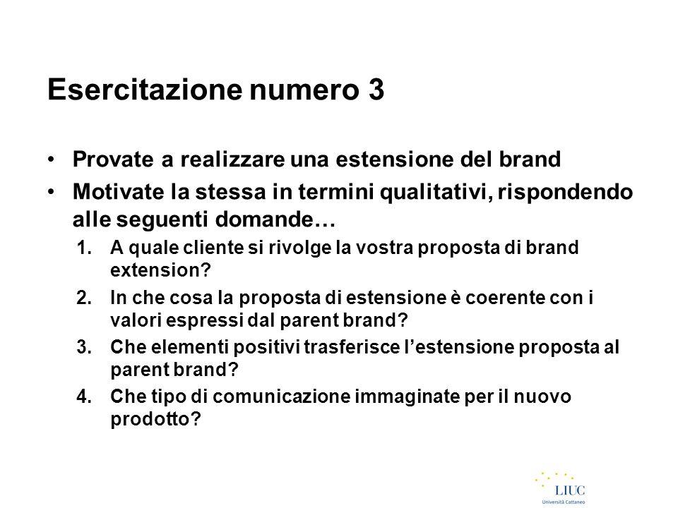 Esercitazione numero 3 Provate a realizzare una estensione del brand