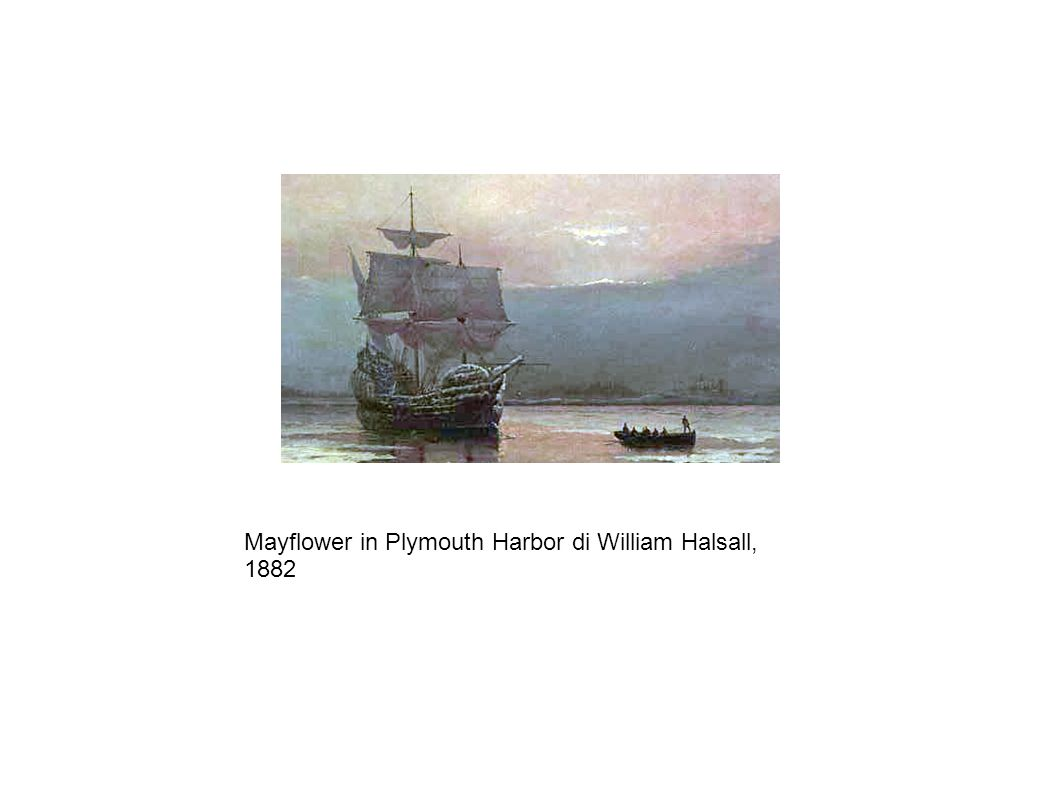 Mayflower in Plymouth Harbor di William Halsall, 1882