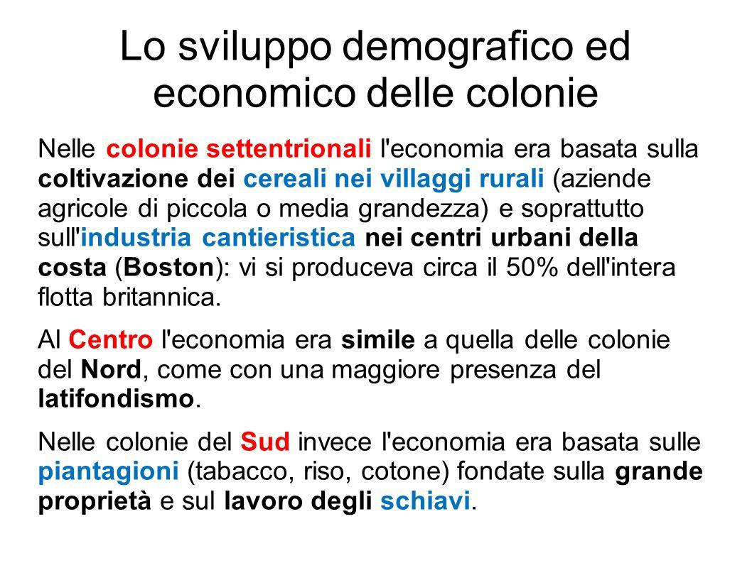 Lo sviluppo demografico ed economico delle colonie