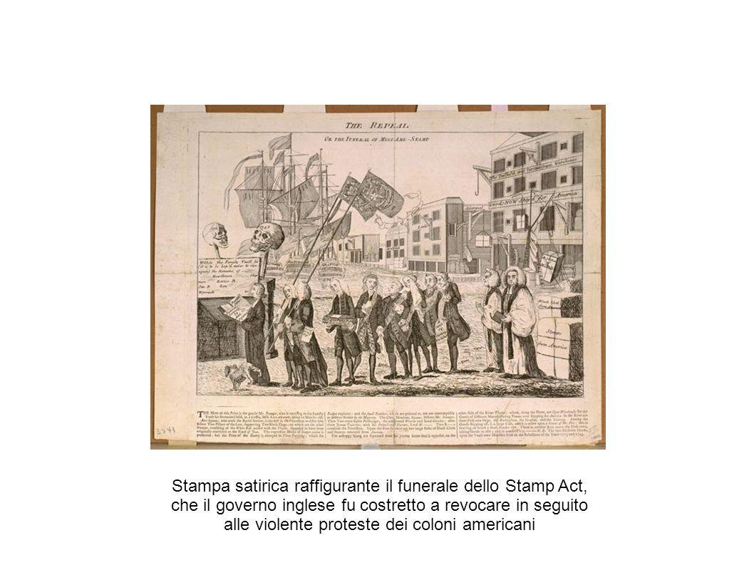 Stampa satirica raffigurante il funerale dello Stamp Act, che il governo inglese fu costretto a revocare in seguito alle violente proteste dei coloni americani