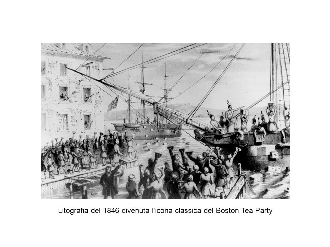 Litografia del 1846 divenuta l icona classica del Boston Tea Party