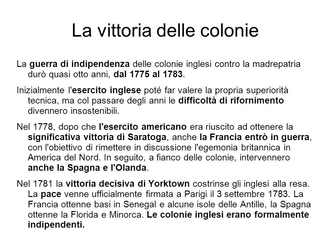 La vittoria delle colonie