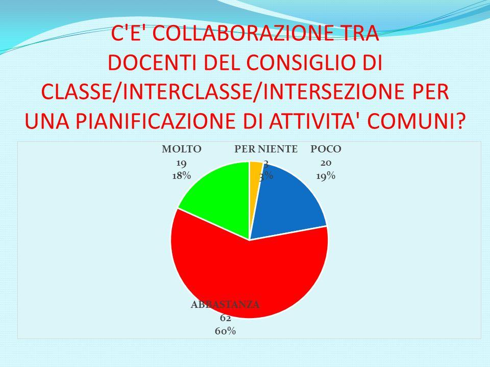 C E COLLABORAZIONE TRA DOCENTI DEL CONSIGLIO DI CLASSE/INTERCLASSE/INTERSEZIONE PER UNA PIANIFICAZIONE DI ATTIVITA COMUNI
