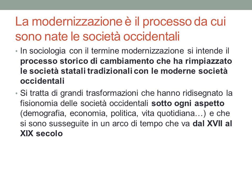 La modernizzazione è il processo da cui sono nate le società occidentali