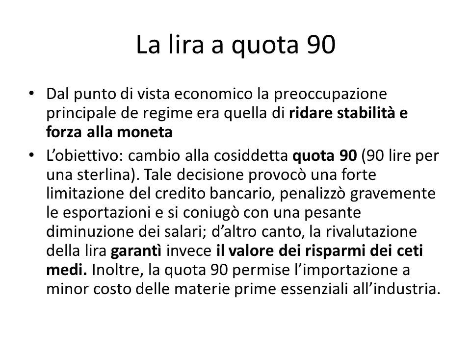 La lira a quota 90 Dal punto di vista economico la preoccupazione principale de regime era quella di ridare stabilità e forza alla moneta.