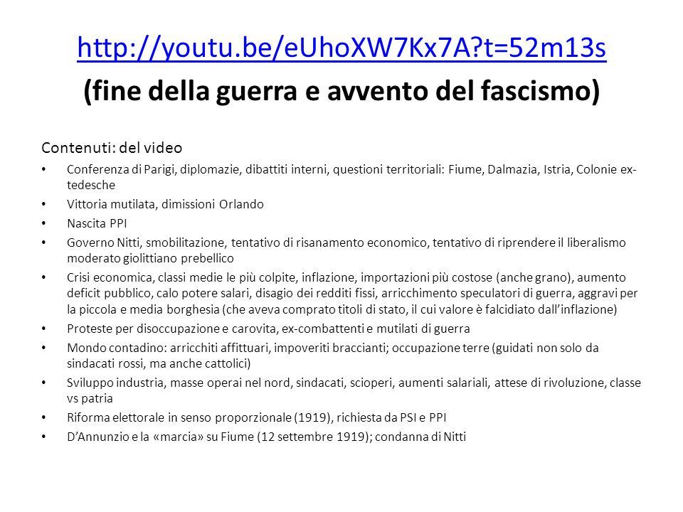 (fine della guerra e avvento del fascismo)
