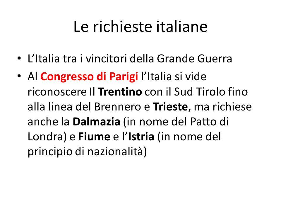 Le richieste italiane L'Italia tra i vincitori della Grande Guerra
