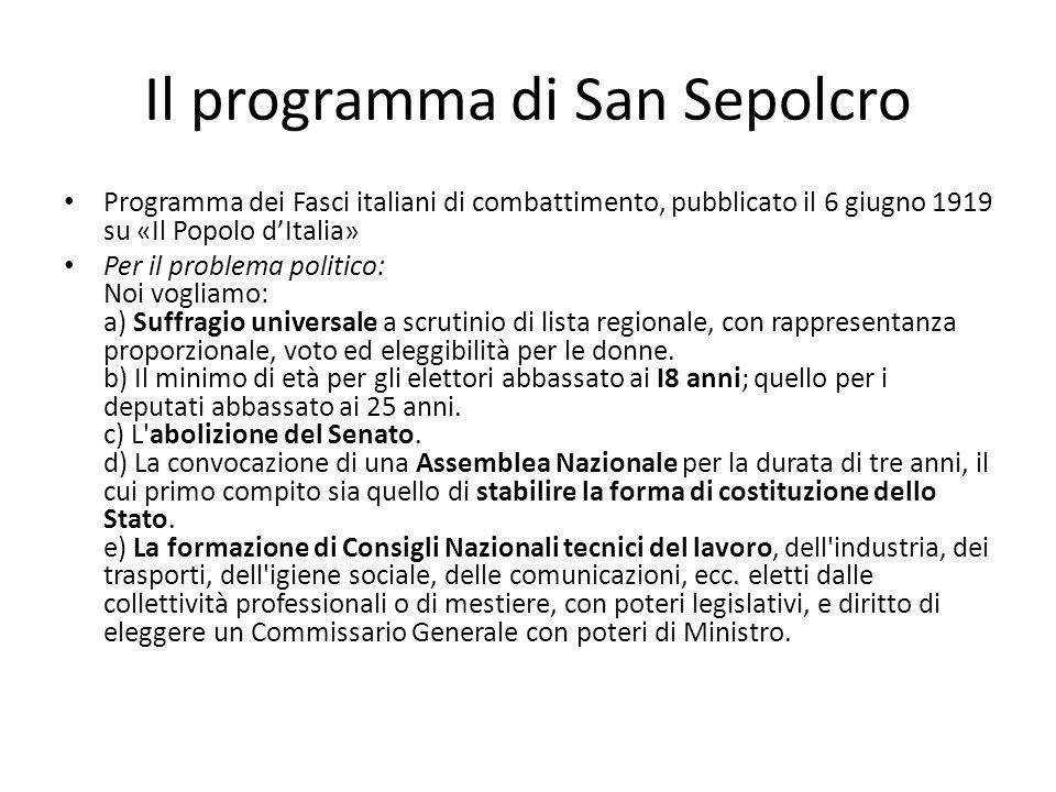 Il programma di San Sepolcro