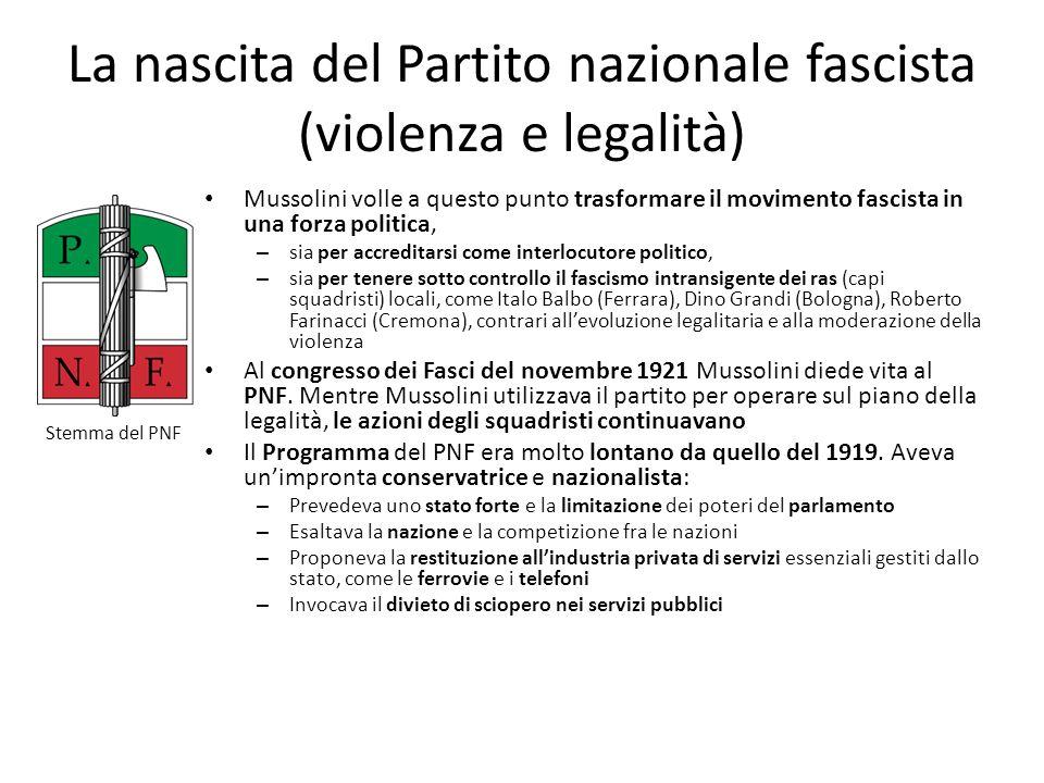La nascita del Partito nazionale fascista (violenza e legalità)