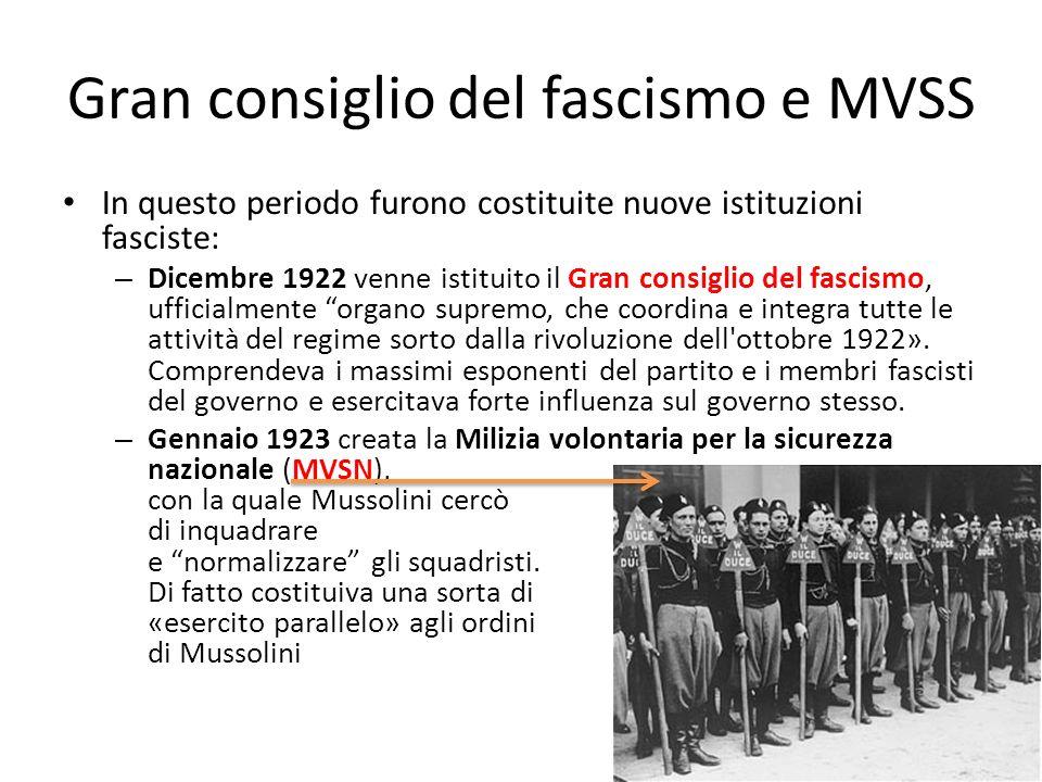 Gran consiglio del fascismo e MVSS
