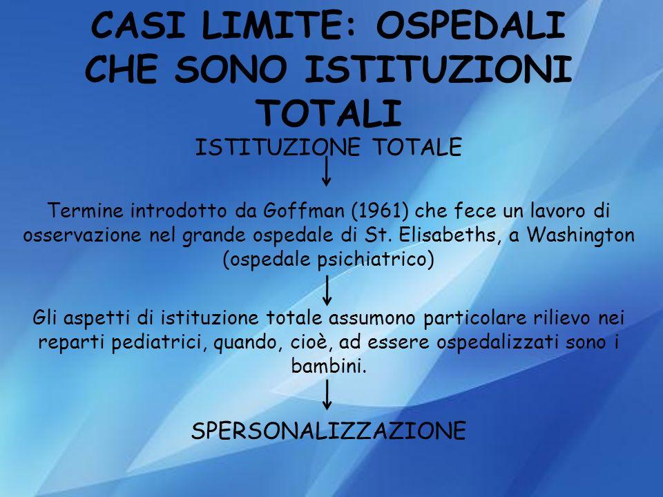 CASI LIMITE: OSPEDALI CHE SONO ISTITUZIONI TOTALI