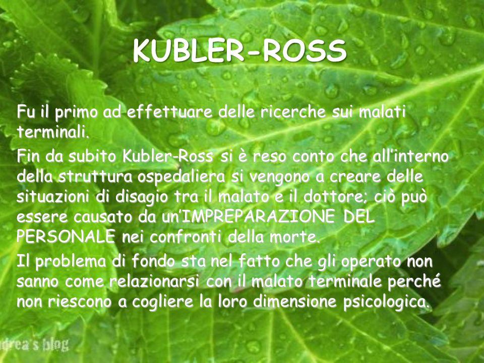 KUBLER-ROSS Fu il primo ad effettuare delle ricerche sui malati terminali.