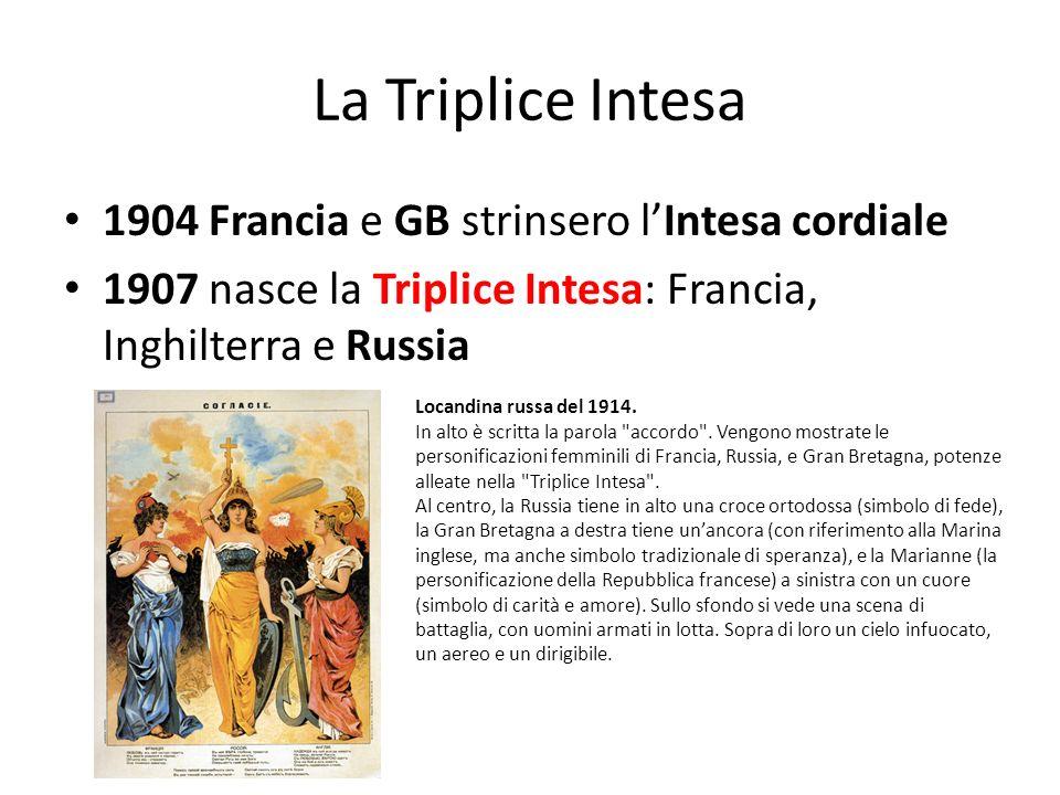 La Triplice Intesa 1904 Francia e GB strinsero l'Intesa cordiale