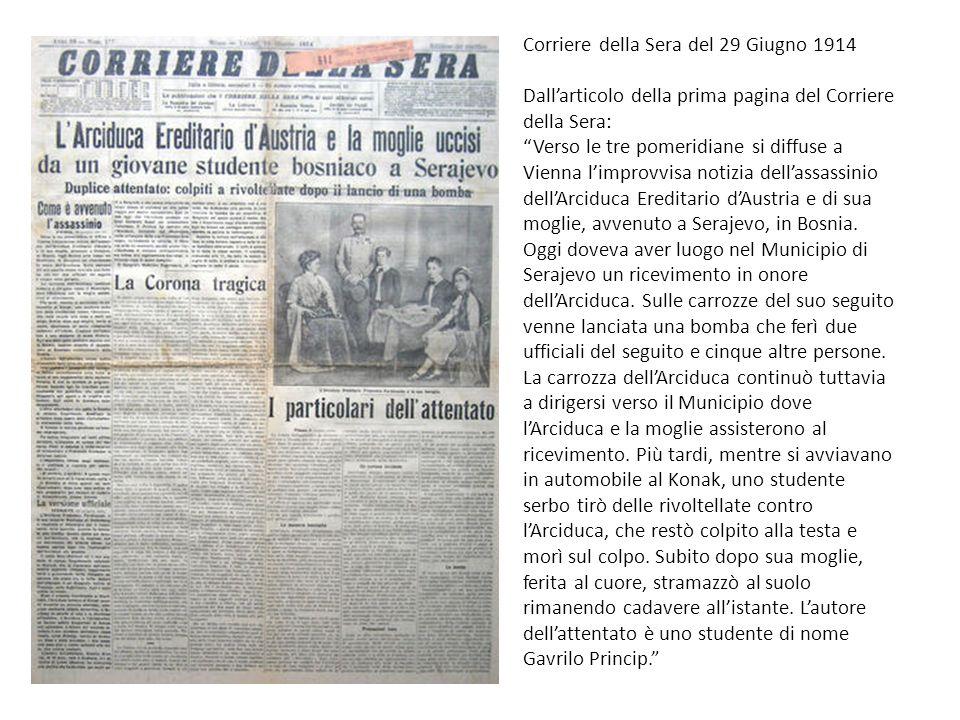 Corriere della Sera del 29 Giugno 1914