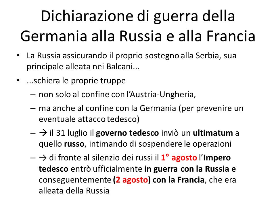 Dichiarazione di guerra della Germania alla Russia e alla Francia