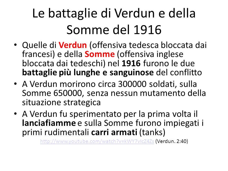 Le battaglie di Verdun e della Somme del 1916