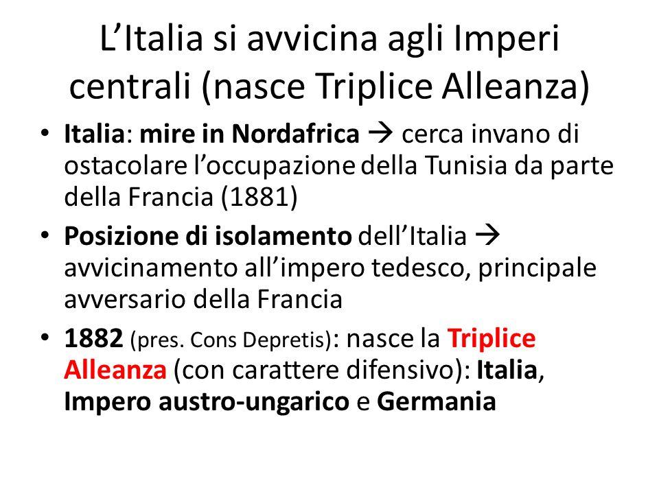 L'Italia si avvicina agli Imperi centrali (nasce Triplice Alleanza)
