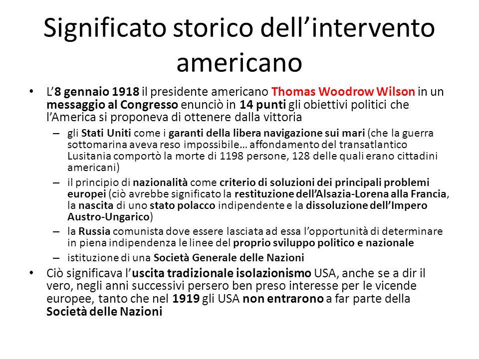 Significato storico dell'intervento americano