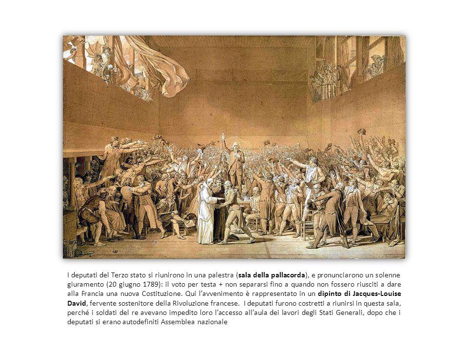 I deputati del Terzo stato si riunirono in una palestra (sala della pallacorda), e pronunciarono un solenne giuramento (20 giugno 1789): il voto per testa + non separarsi fino a quando non fossero riusciti a dare alla Francia una nuova Costituzione.