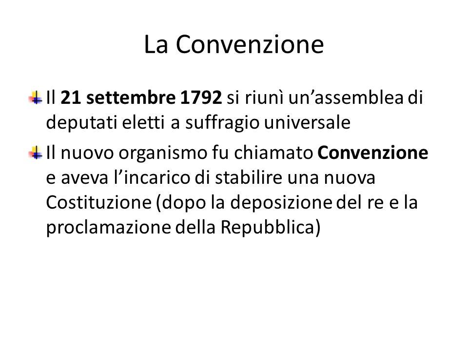La Convenzione Il 21 settembre 1792 si riunì un'assemblea di deputati eletti a suffragio universale.