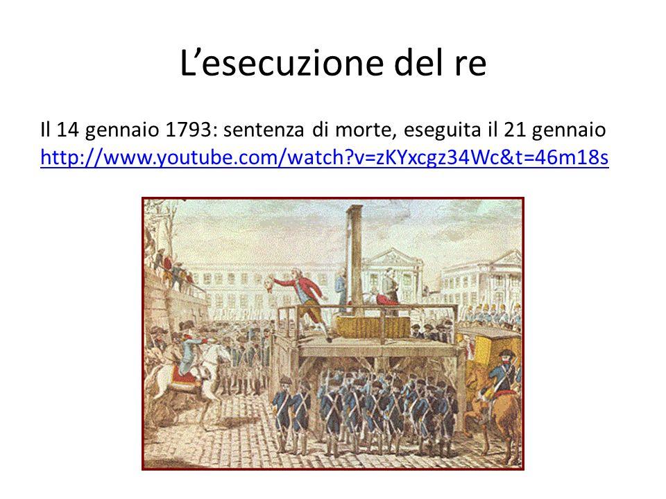 L'esecuzione del re Il 14 gennaio 1793: sentenza di morte, eseguita il 21 gennaio http://www.youtube.com/watch v=zKYxcgz34Wc&t=46m18s