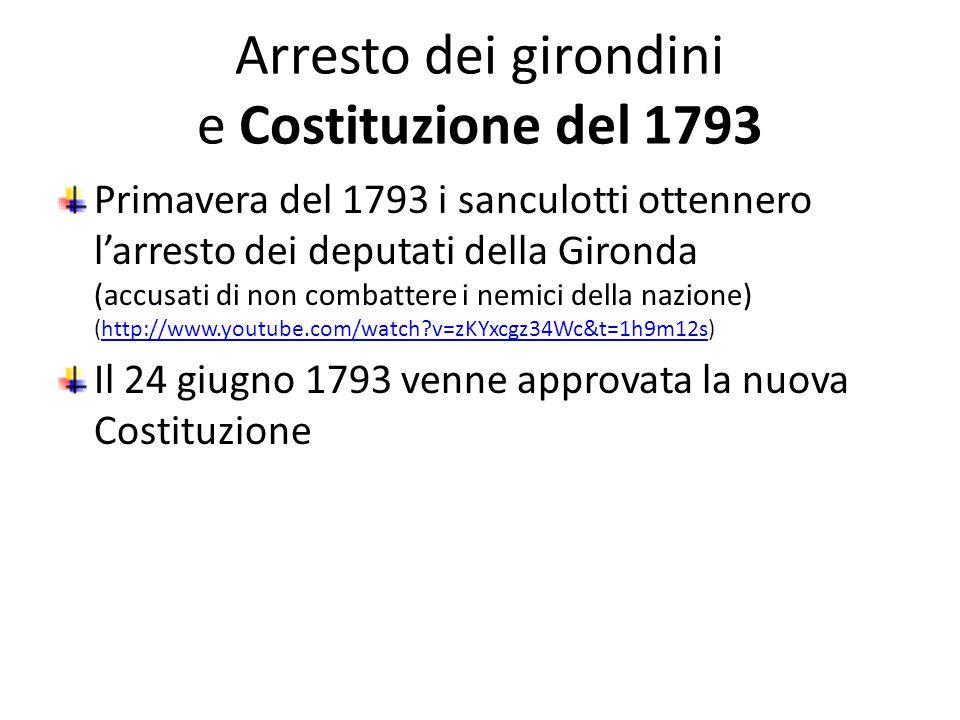 Arresto dei girondini e Costituzione del 1793