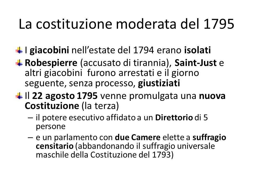 La costituzione moderata del 1795
