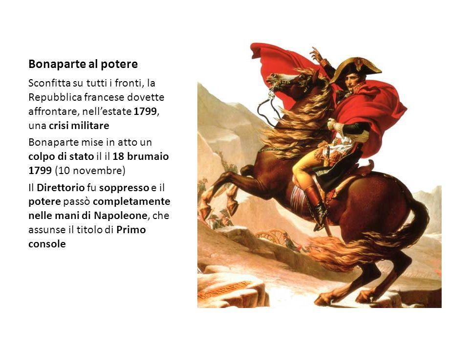 Bonaparte al potere Sconfitta su tutti i fronti, la Repubblica francese dovette affrontare, nell'estate 1799, una crisi militare.