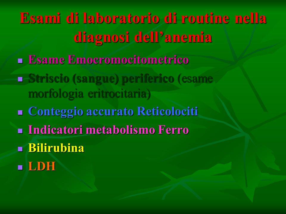 Esami di laboratorio di routine nella diagnosi dell'anemia