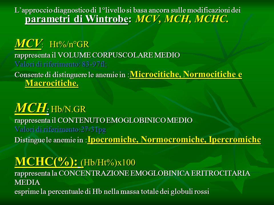MCH: Hb/N.GR MCV: Ht%/n°GR MCHC(%): (Hb/Ht%)x100