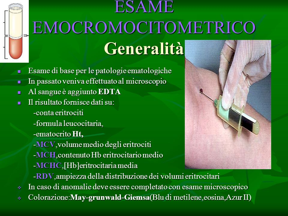 ESAME EMOCROMOCITOMETRICO Generalità