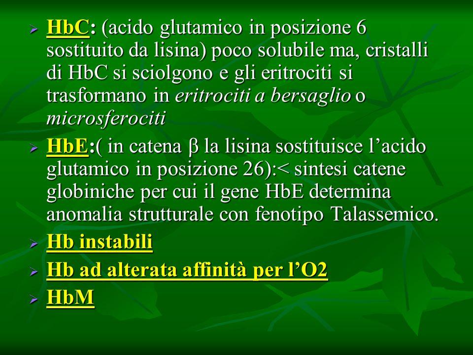 HbC: (acido glutamico in posizione 6 sostituito da lisina) poco solubile ma, cristalli di HbC si sciolgono e gli eritrociti si trasformano in eritrociti a bersaglio o microsferociti