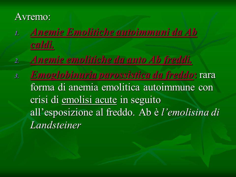 Avremo: Anemie Emolitiche autoimmuni da Ab caldi. Anemie emolitiche da auto Ab freddi.