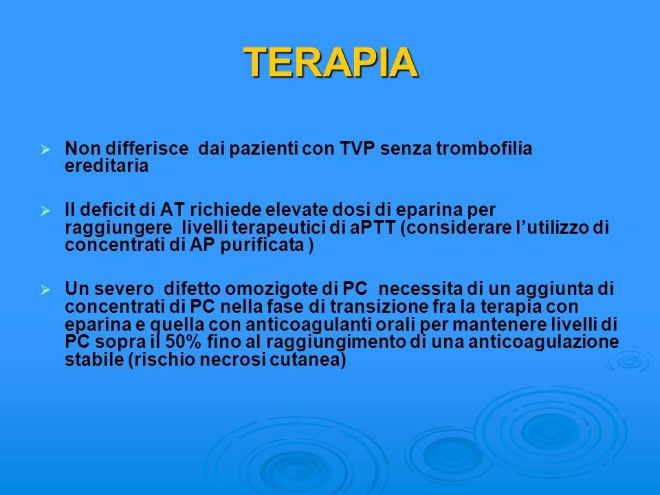TERAPIA Non differisce dai pazienti con TVP senza trombofilia ereditaria
