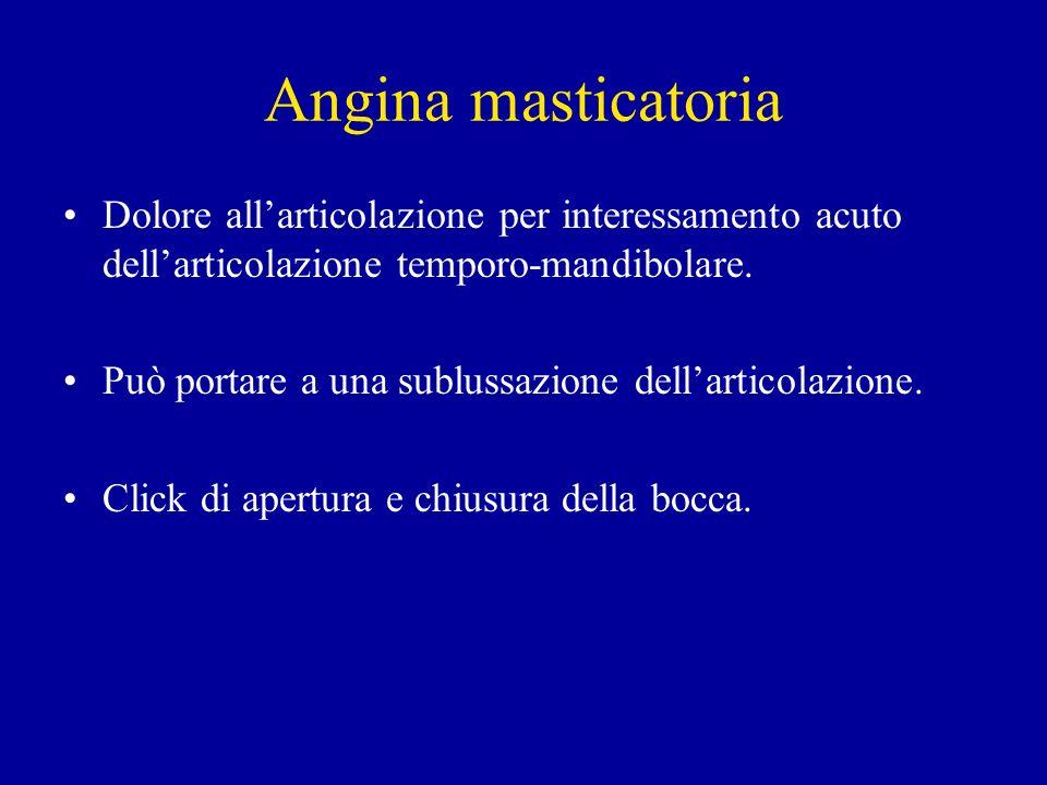 Angina masticatoria Dolore all'articolazione per interessamento acuto dell'articolazione temporo-mandibolare.