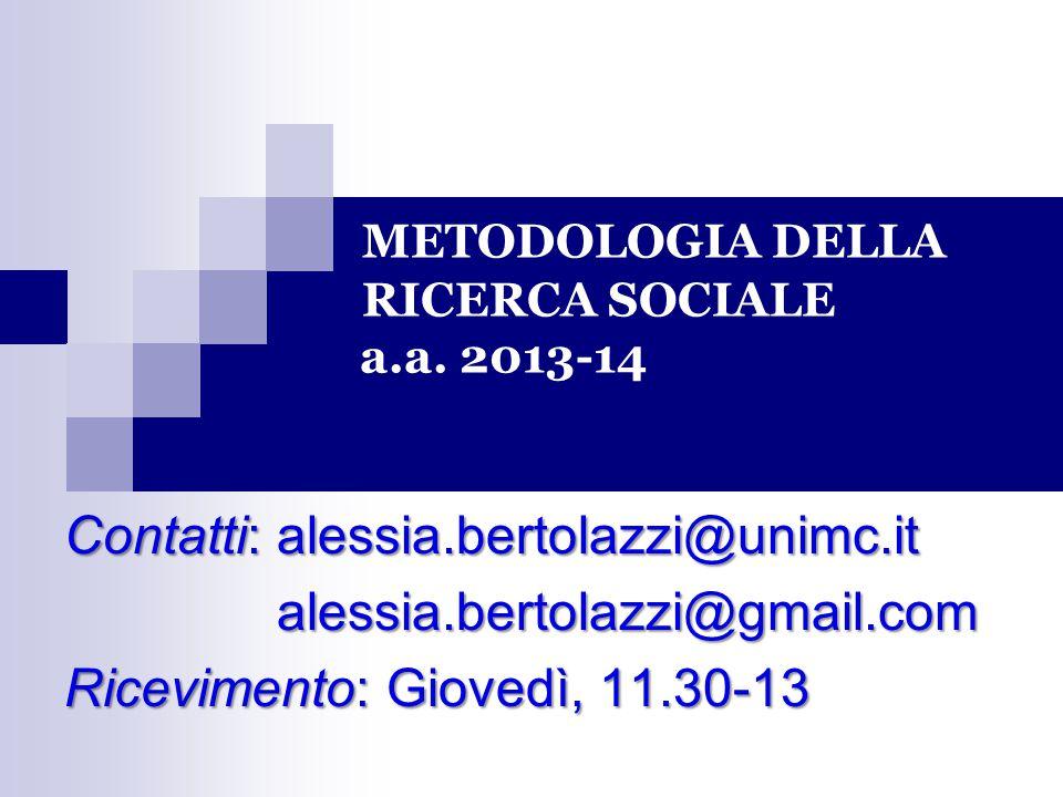 METODOLOGIA DELLA RICERCA SOCIALE a.a. 2013-14