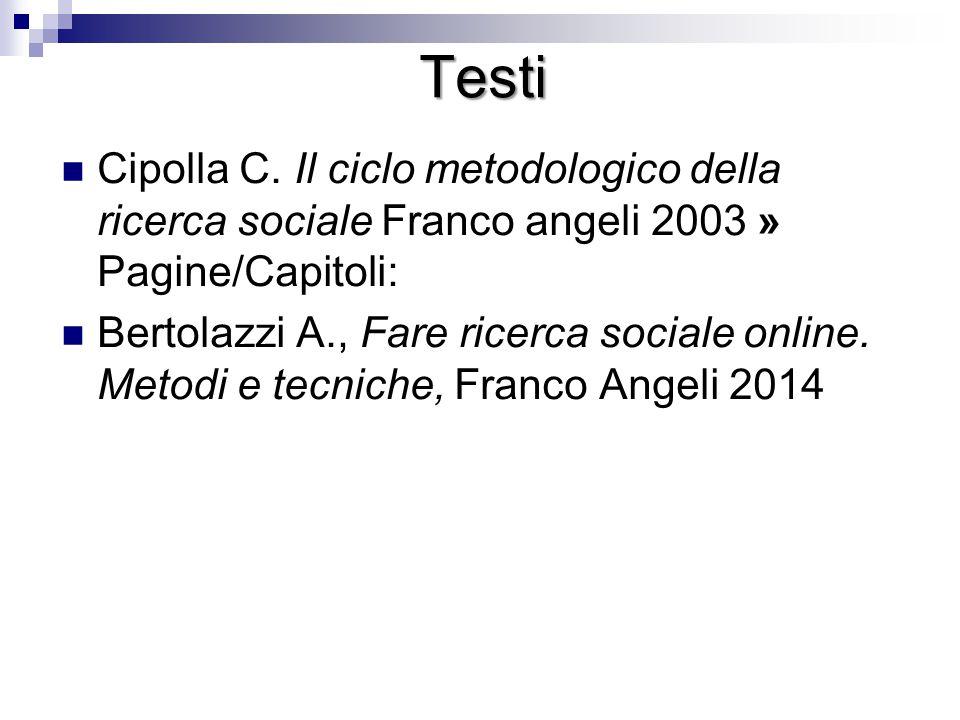 Testi Cipolla C. Il ciclo metodologico della ricerca sociale Franco angeli 2003 » Pagine/Capitoli: