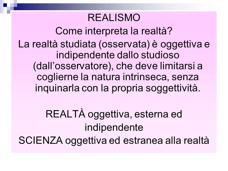 Come interpreta la realtà