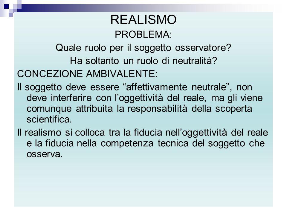 REALISMO PROBLEMA: Quale ruolo per il soggetto osservatore