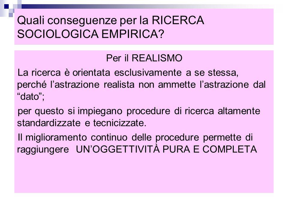 Quali conseguenze per la RICERCA SOCIOLOGICA EMPIRICA