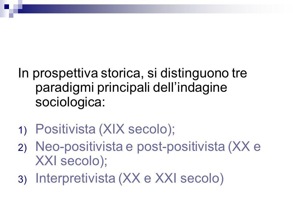 In prospettiva storica, si distinguono tre paradigmi principali dell'indagine sociologica: