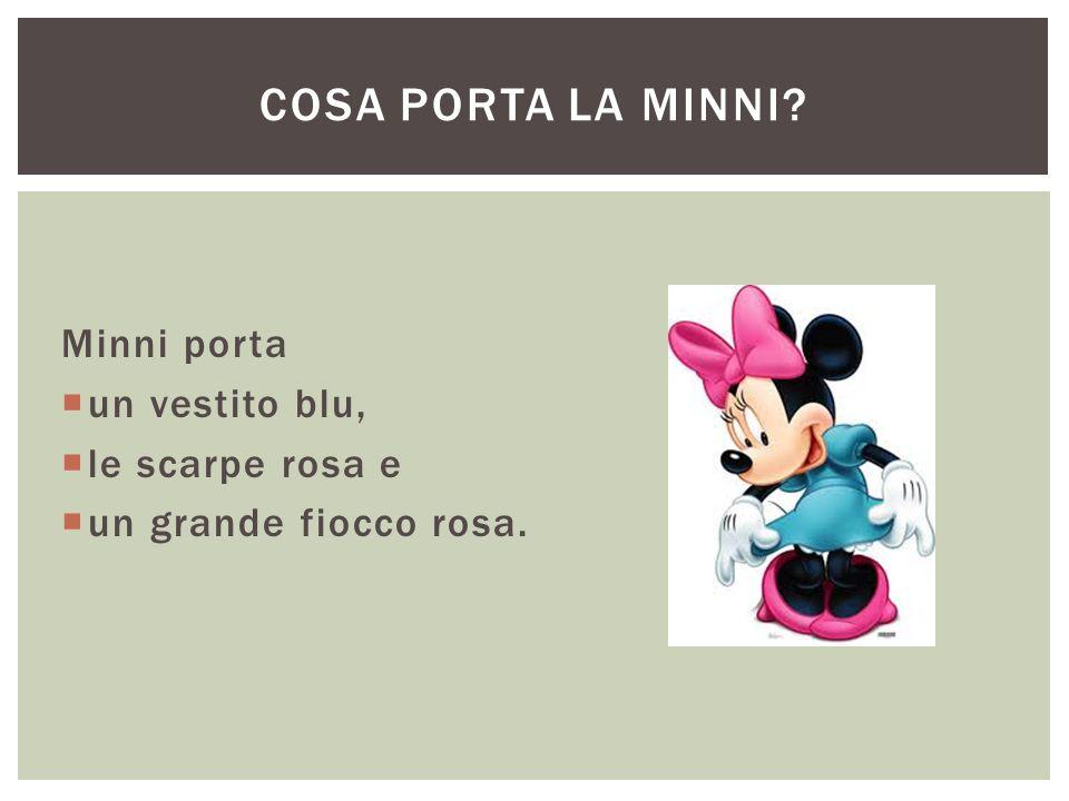 Cosa porta la Minni Minni porta un vestito blu, le scarpe rosa e