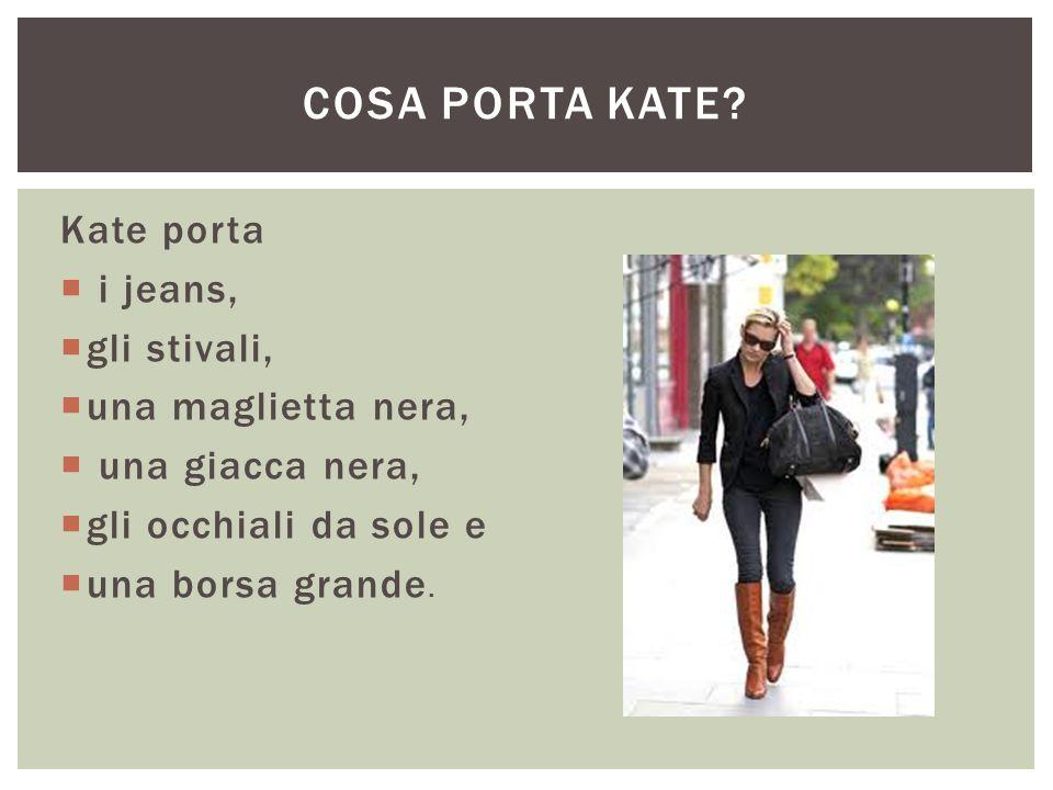 Cosa porta kate Kate porta i jeans, gli stivali, una maglietta nera,