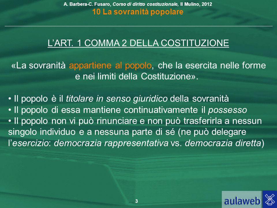 L'ART. 1 COMMA 2 DELLA COSTITUZIONE