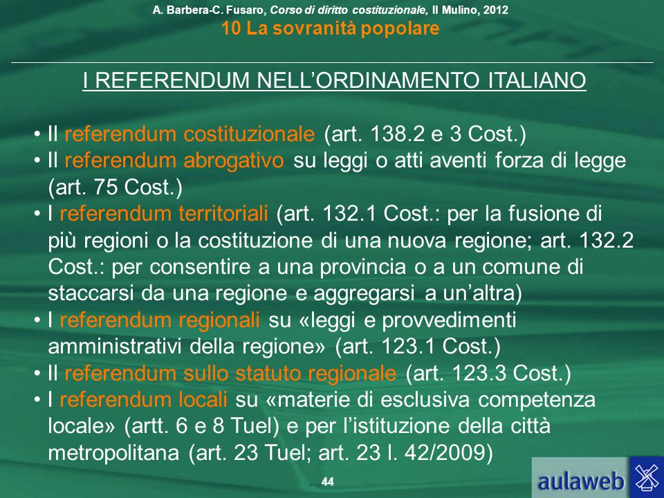 I REFERENDUM NELL'ORDINAMENTO ITALIANO