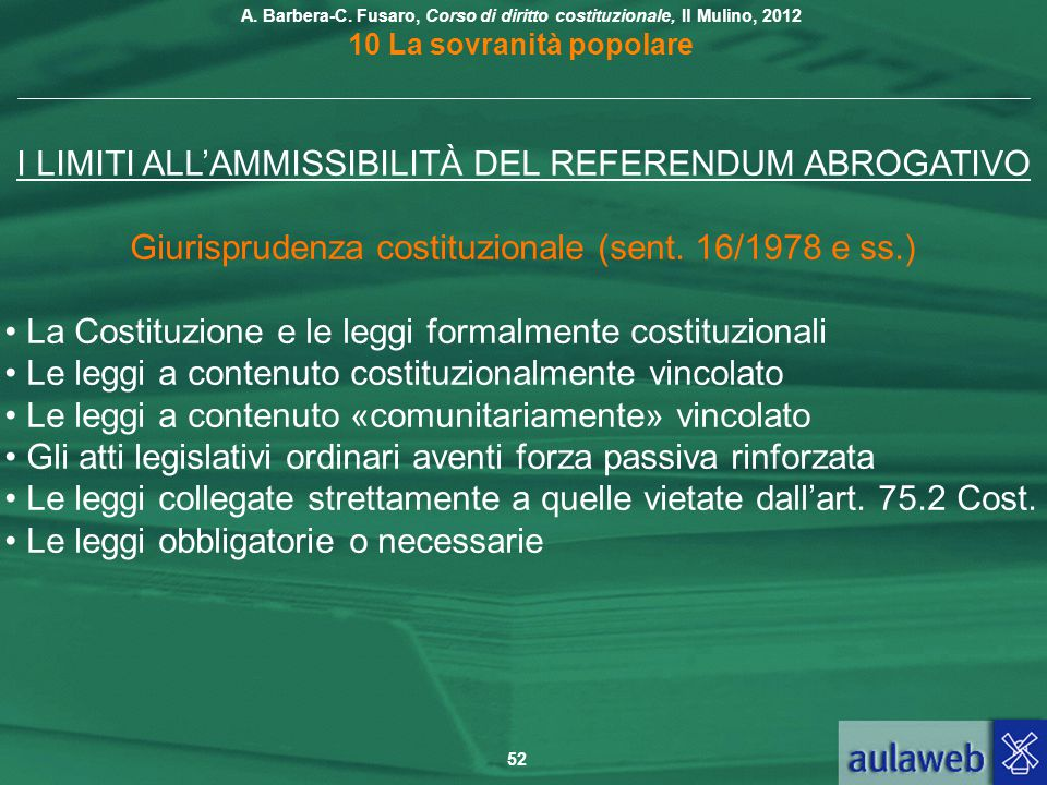 I LIMITI ALL'AMMISSIBILITÀ DEL REFERENDUM ABROGATIVO
