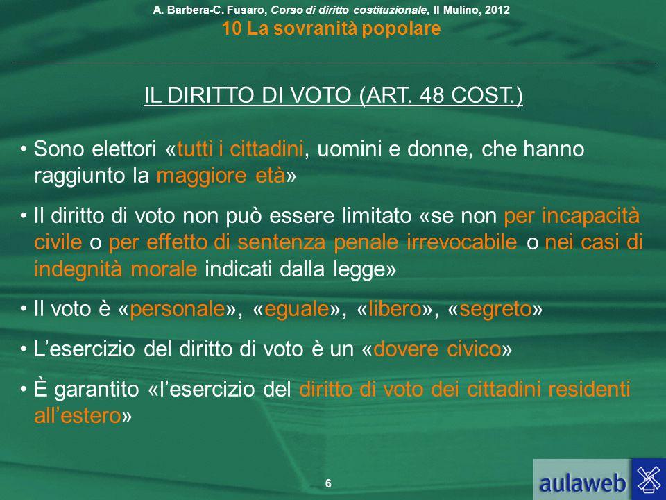 IL DIRITTO DI VOTO (ART. 48 COST.)